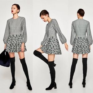 Zara Gray Plaid Mini Dress with Floral Embroidery